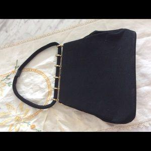 Vintage black soft felt evening bag